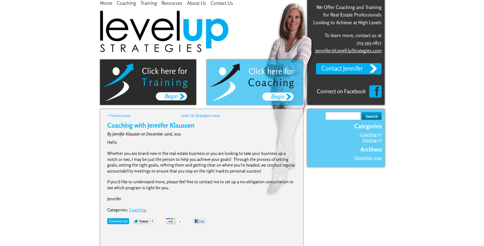 Dakno Custom Blog For Client Jennifer Klaussen Real Estate Coach Real Estate Coaching Real Estate Web Design Portfolio Web Design
