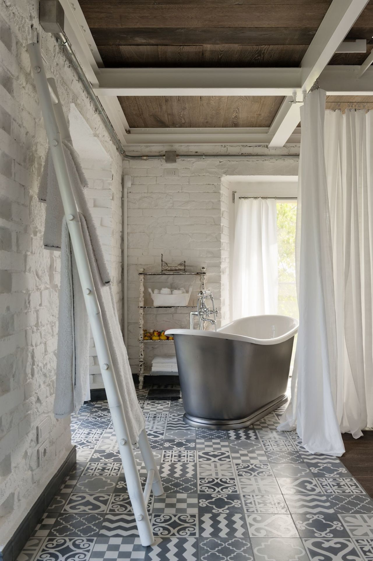 patterned tiles painted brick walls and a