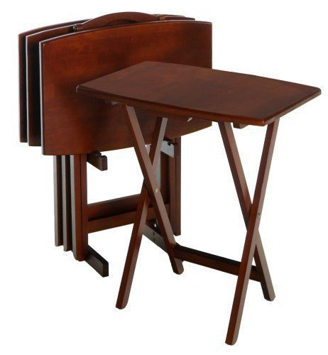 Superbe TV Dinner Tray Table Folding Oversized 5 Piece Set Wood Coffee Snack Serve  Gift #Winsome