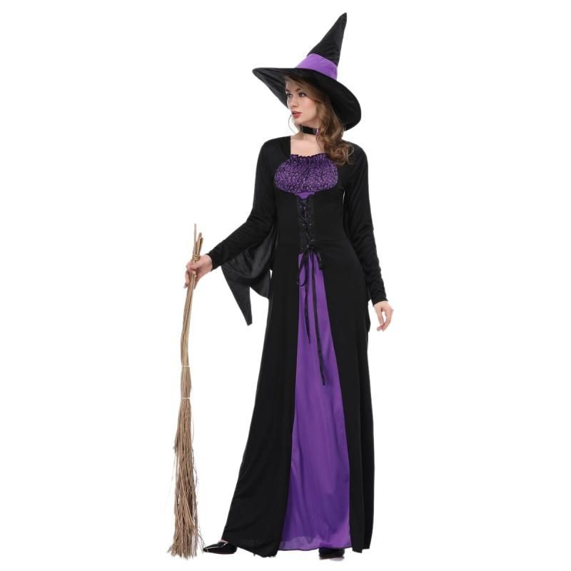 Female halloween witch plus size long dress cosplay