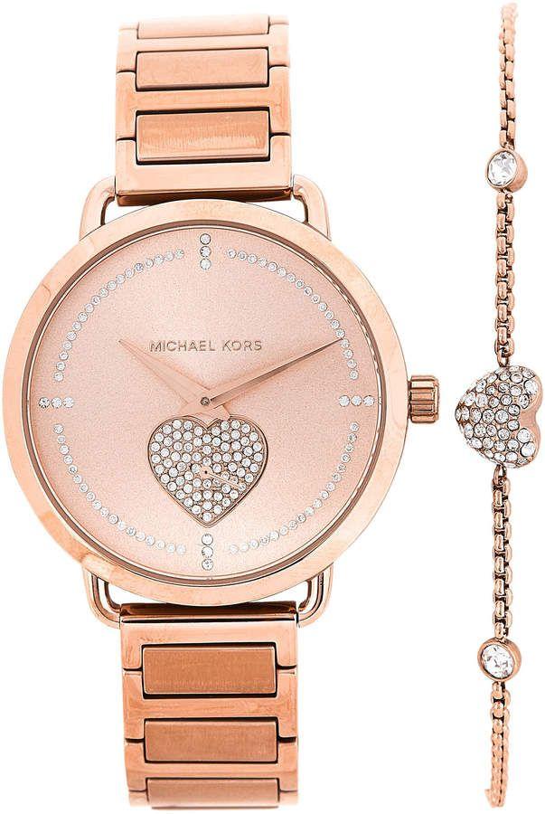 c846a634e07f Michael Kors MK3827 Rose Gold-Tone Watch   Bracelet Set