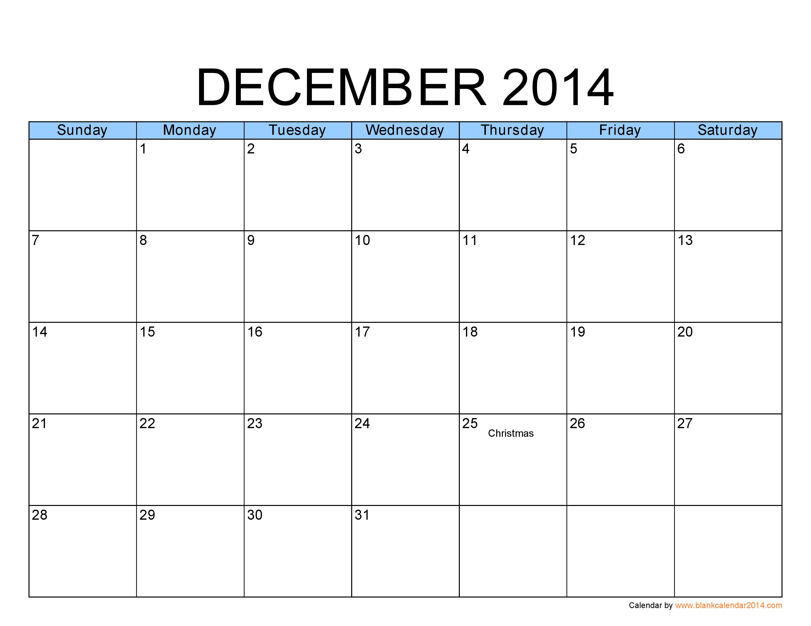 Blank December Calendar | December 2014 Calendar Template | ideas ...