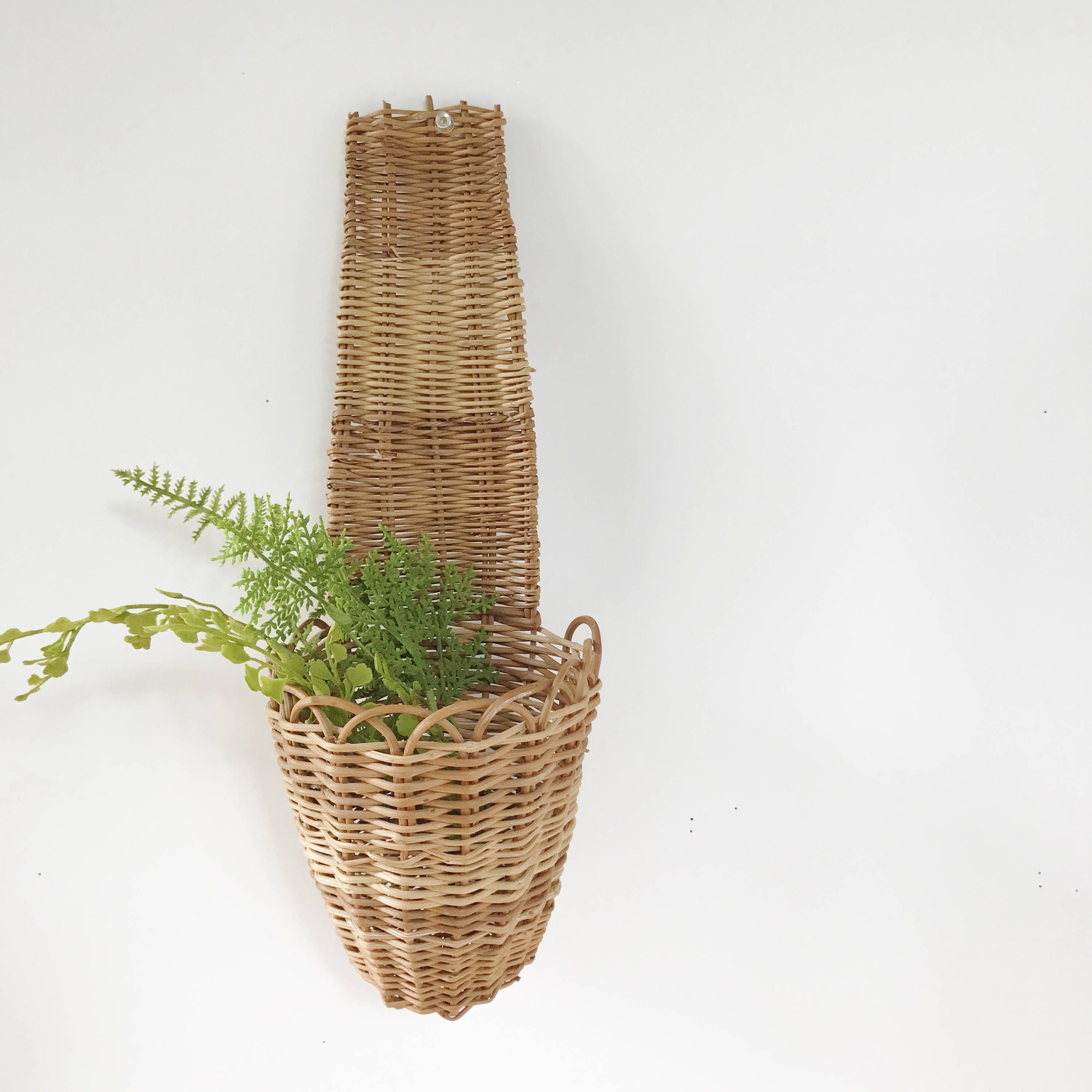 Vintage Woven Wicker Rattan Wall Basket Long Handle-Wall Pocket-Plant Flower