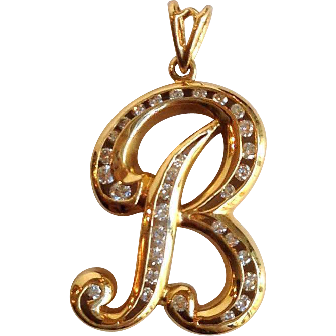 yellow pnd ct pendant unisex diamond real letter genuine b initial gold