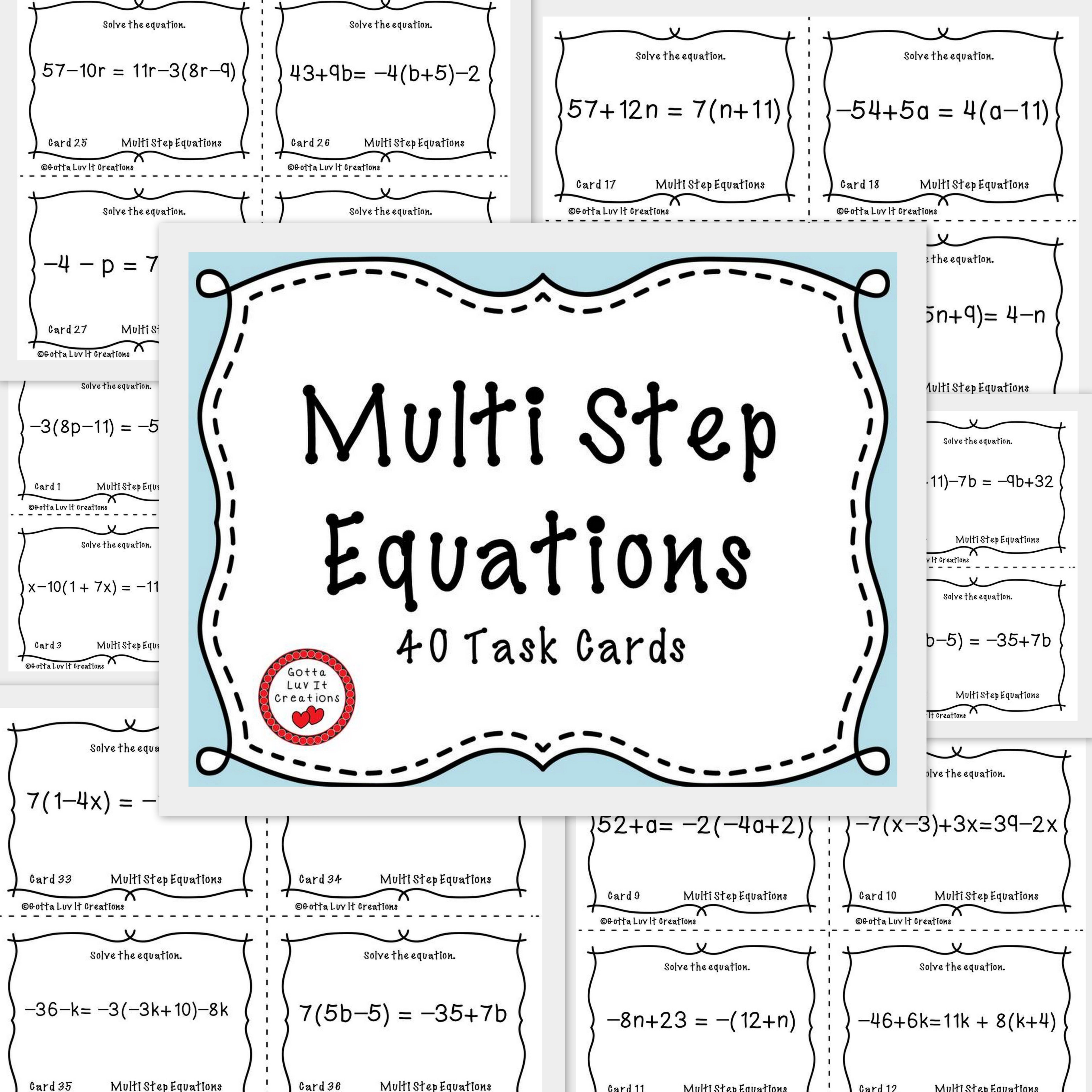 Solving Equations Multi Step Equations Variables Both