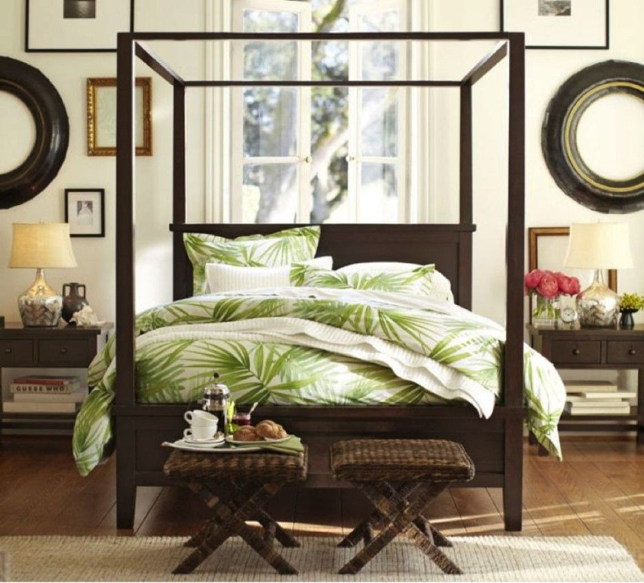 Tropical Bedroom Theme With Dark Brown Wooden