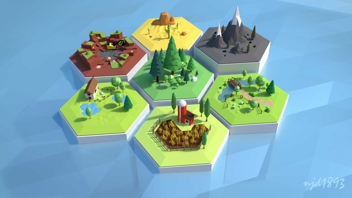 Low Poly Settlers of Catan  Minimal art ref  Low poly