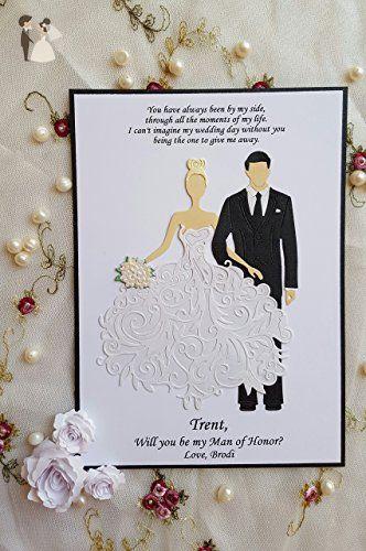 Will You be my Best Man Groomsman, Bridesmaid, Maid, Matron of Honor - formal handmade invitation cards