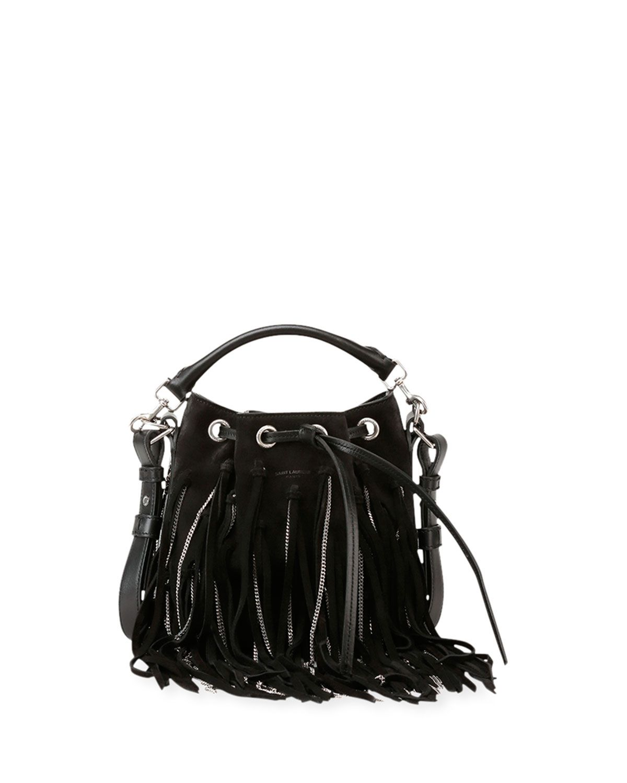 74128bd2d26 ... Emmanuelle Small Suede Fringe Bag, Black - Saint Laurent reputable site  7a3e7 2554f ...