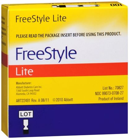 Image of FreeStyle Lite Blood Glucose Test Strips 100 Each