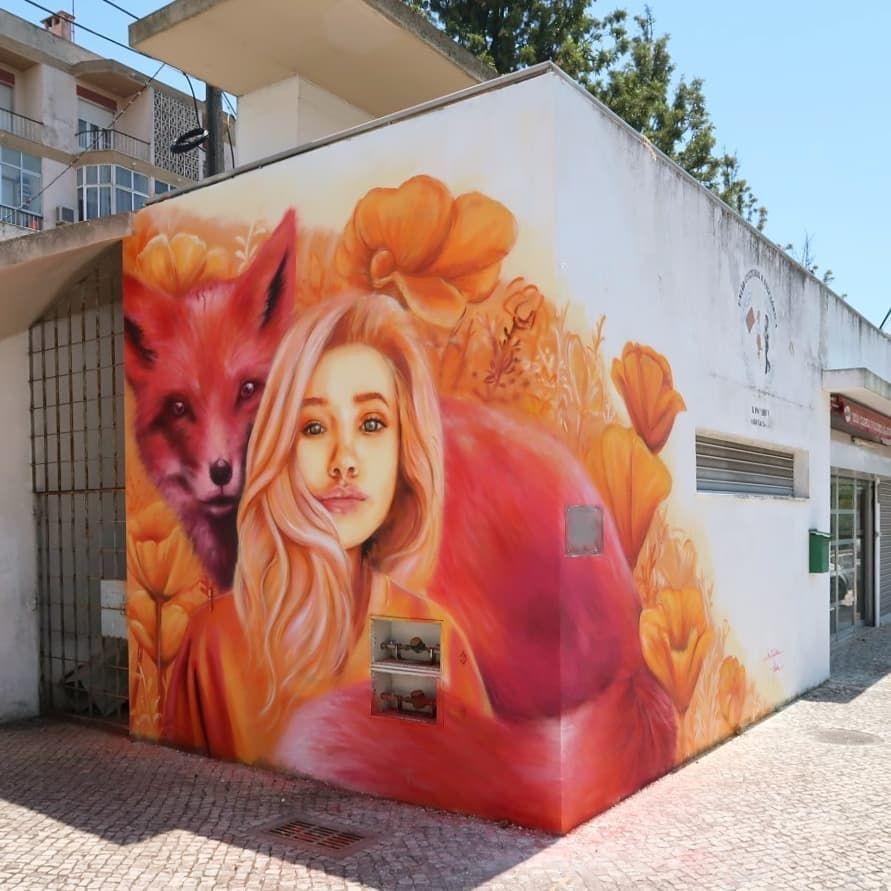 Kitsune Jolene For Loures Arte Publica In Loures Portugal 2019 Street Graffiti Mural Art Installation Street Art