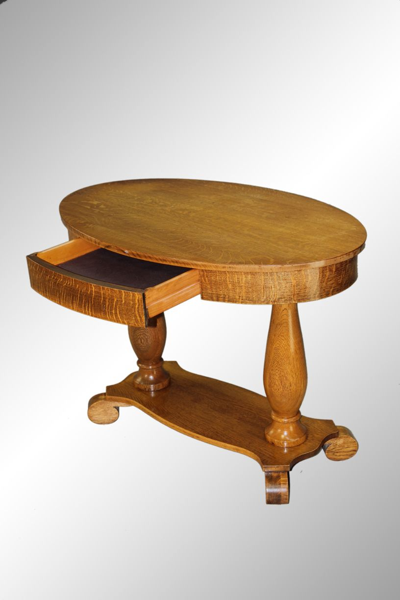 Antique Oval Oak Library Table With Drawer