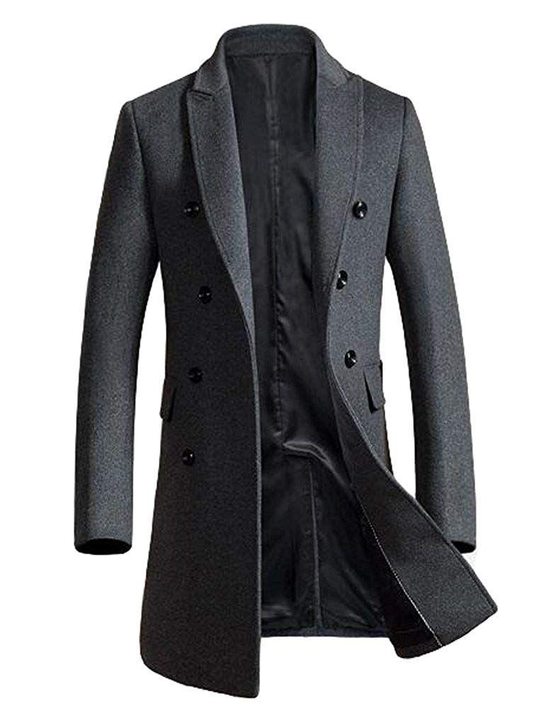 Mordenmiss Mens Wool Trench Coats Winter Warm Business Jacket Overcoat Outwear