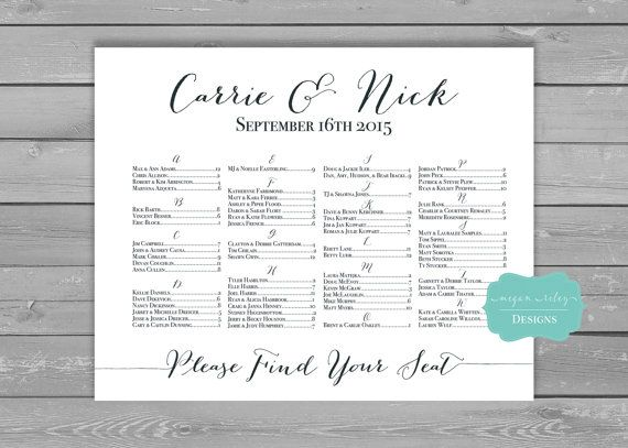Wedding Seating Chart, Personalized Seating Chart, Printable - printable seating charts