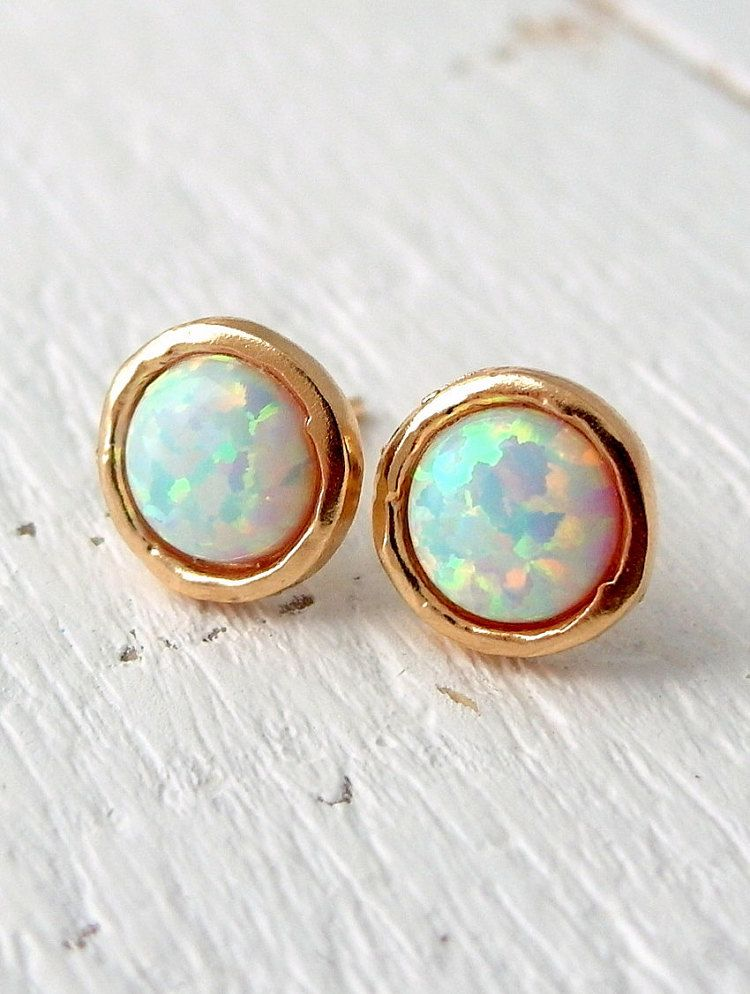mexican opal earrings stud silver jewelry or sterling fire round in yellow
