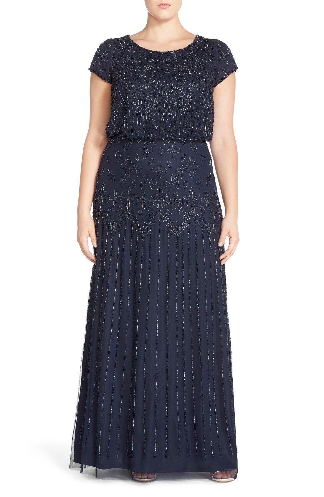 Adrianna Papell Beaded Blouson Gown Plus Size Nordstrom Plus Size Dresses Plus Size Evening Gown Evening Dresses Plus Size [ 1687 x 1100 Pixel ]