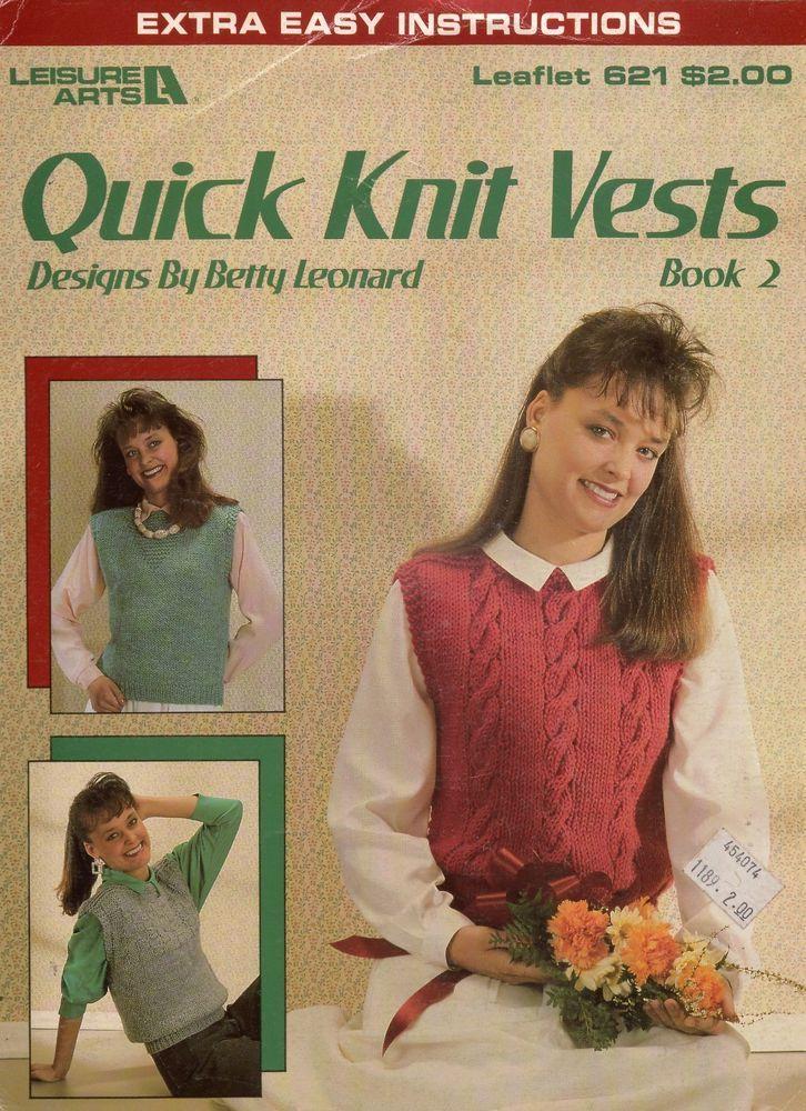 Quick Knit Vests Book 2 Leisure Arts 621 Knitting Patterns Sport Yarn Lace 1988 #LeisureArts #KnittingPatterns