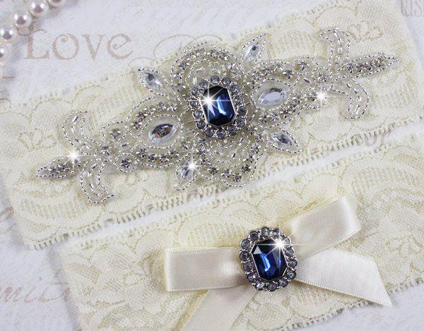 MADRID II - Sapphire Blue Wedding Garter Set, Lace Garter ...
