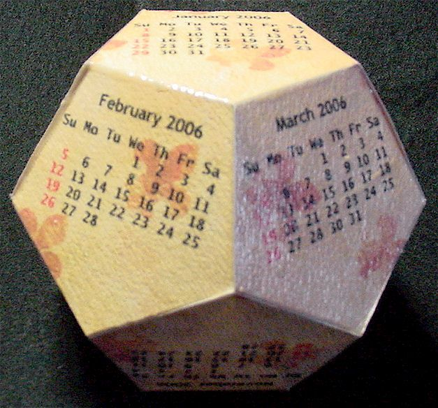 Dodecahedron cube calendar templates and instructions These