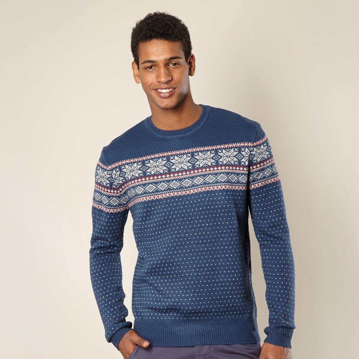 Blue Snowflake Fairisle Jumper At Debenhams Com Erkek Giyim Triko Giyim [ 1250 x 1250 Pixel ]