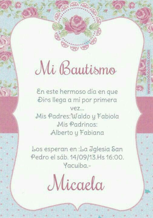 Formato Para Invitaciones De Bautizo Togowpartco