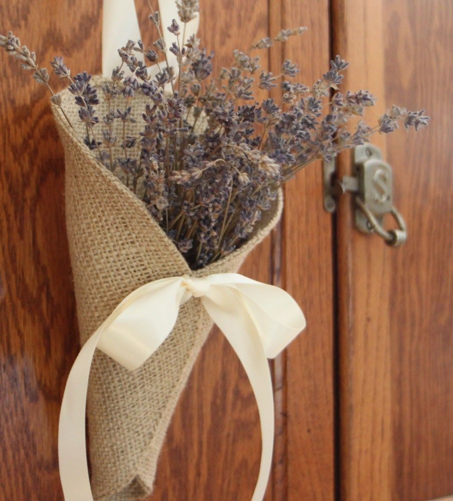 Khaki burlap pew cone posy pocket by nutfieldweaver on Decoration kaki