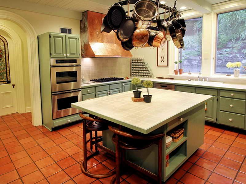 Green Kitchen Cabinets Design Ideas With Red Tile Floor And Nice Backsplash
