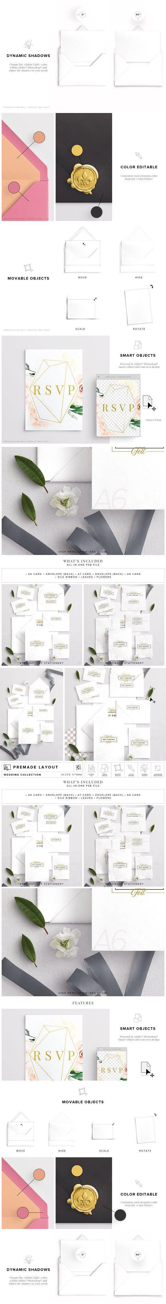 Wedding Invitation Suite Mockup Business Card Mockup Pinterest