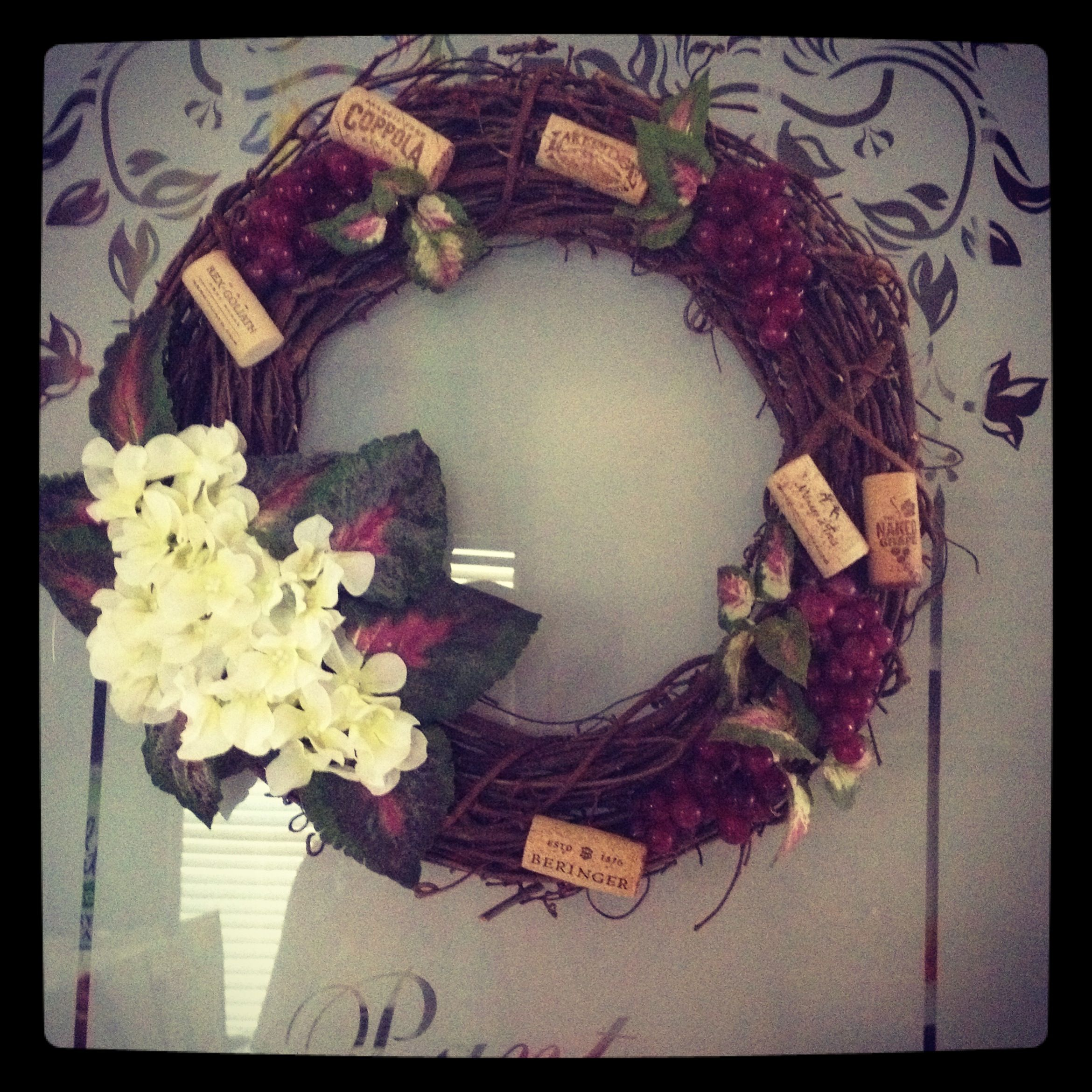 Wreath for my wine themed kitchen yep i made that pinterest