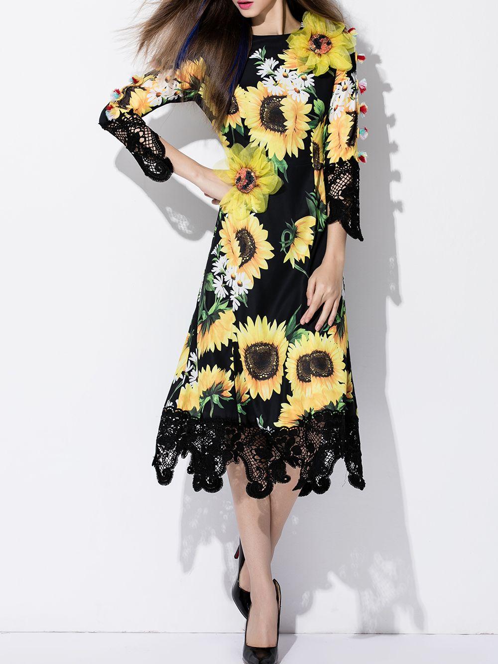 040b1637fdb Black Sunflowers Print A-Line Dress -SheIn(abaday)
