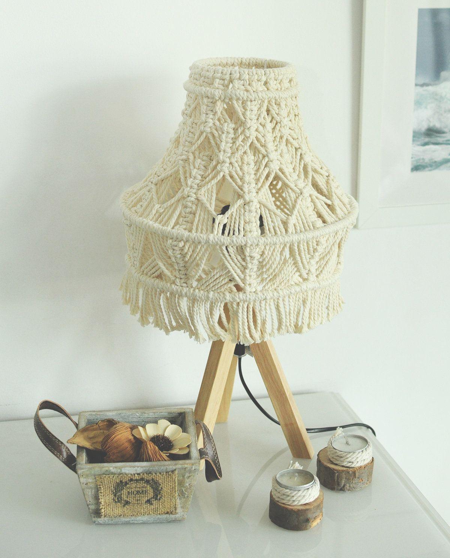 Macrame Lamp Shade Boho Macrame Lamp Bohemian Lamp Cotton Lampshade Rustic Lamp Shade Bedroom Lamp Bohemian Lamp Bedroom Lampshade Shabby Chic Lamp Shades