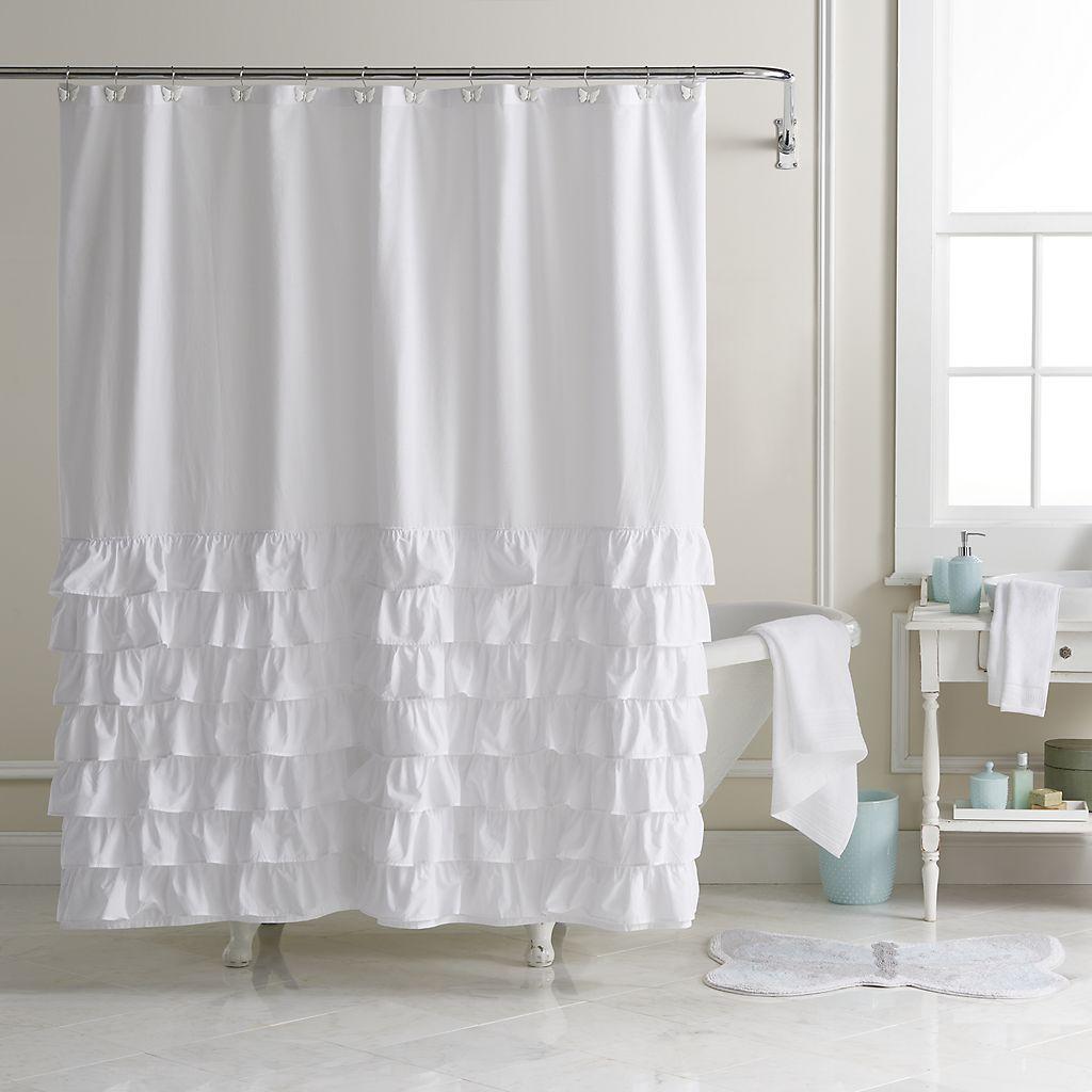 Lc Lauren Conrad Ella Ruffle Fabric Shower Curtain Farmhouse