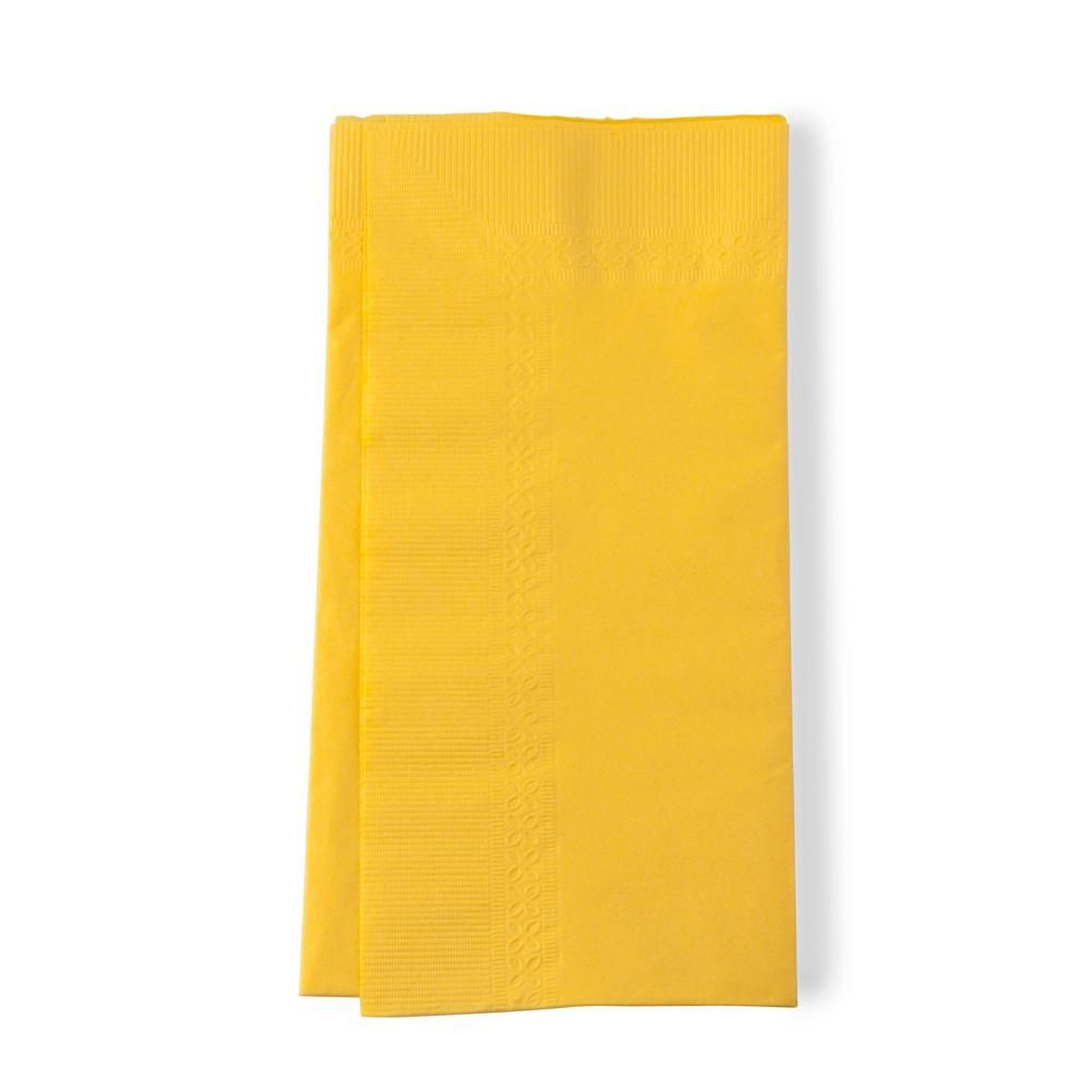 "15"" x 17"" Yellow 2-Ply Paper Dinner Napkins - 200 / Pack"