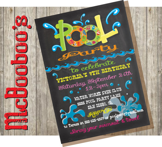 Chalkboard Birthday Pool Party Invitation by McBooboos on Etsy - pool party invitation