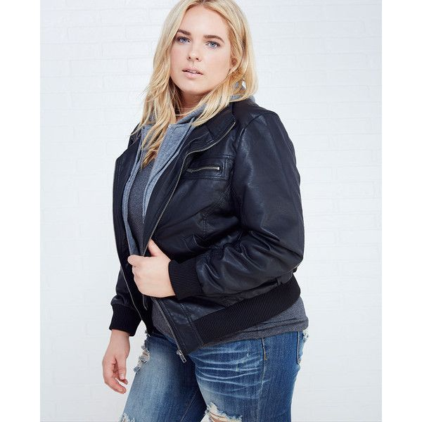 Plus Size Faux Leather Bomber Jacket With Knit Hood ($39) ❤ liked on Polyvore featuring plus size fashion, plus size clothing, plus size outerwear, plus size jackets, black, plus size, faux leather jacket, plus size bomber jacket, blouson jacket and hooded faux leather jacket