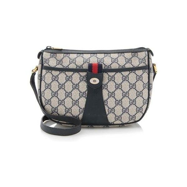 d4b79aa24f0b Pre-Owned Gucci Vintage GG Plus Crossbody Bag ($225) ❤ liked on Polyvore  featuring bags, handbags, shoulder bags, blue, blue handbags, pre owned  handbags, ...