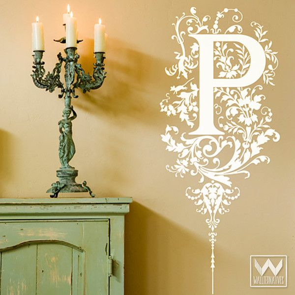 Ornate Floral Fairies Monogram Vinyl Wall Decal | Wall decals ...
