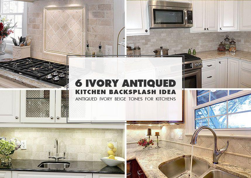 Antiqued ivory beige color travertine tile for kitchen backsplash ...