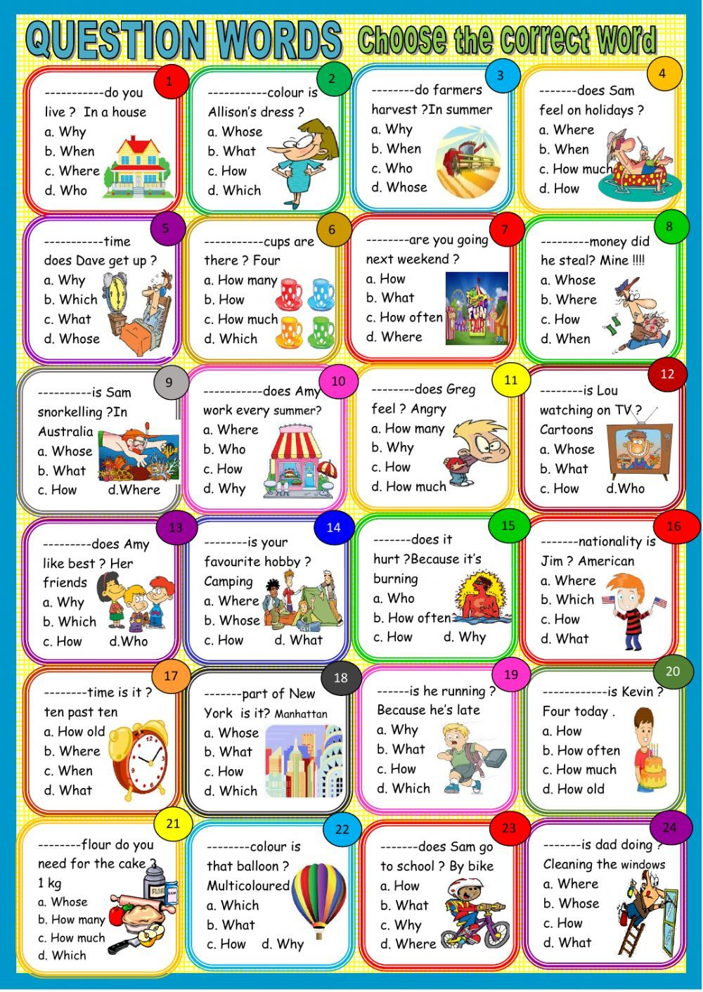 Question words interactive and downloadable worksheet