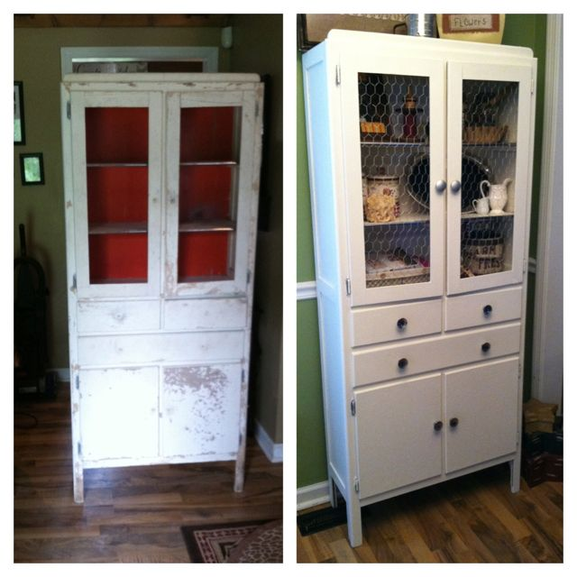 1940's cabinet makeover before and after with chicken wire in the doors. Perfect kitchen storage for a small home :)