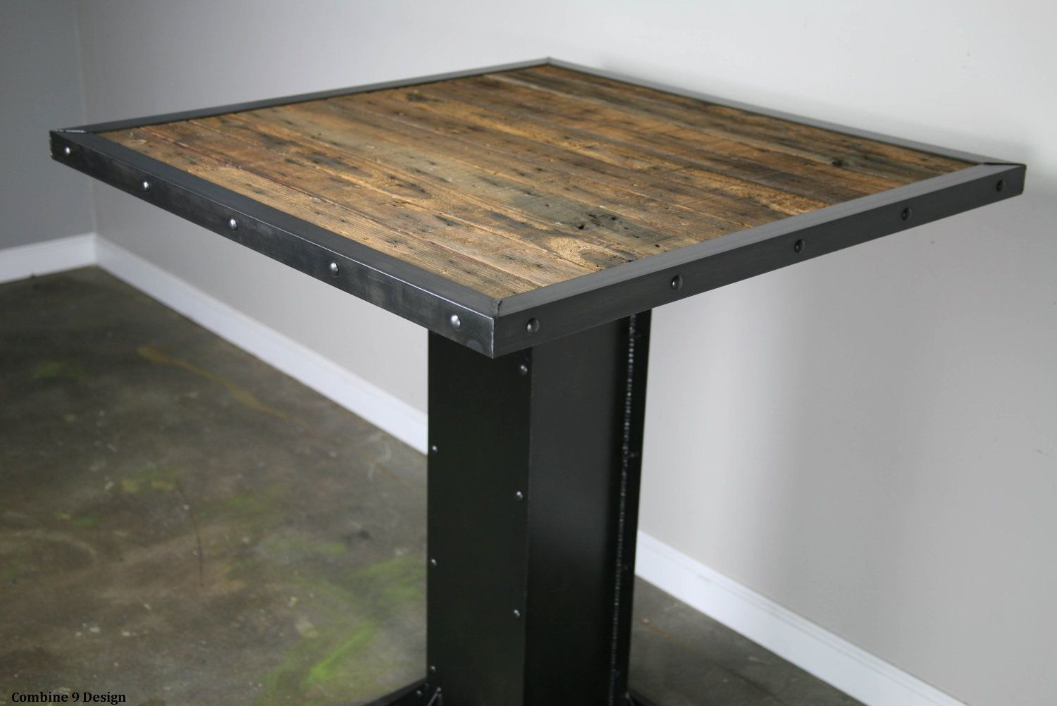 Cafe table and chairs design - Industrial Bistro Table Modern Style Dining Table Reclaimed Wood And Steel Bistro Table Rustic Restaurant Furniture Urban Bar Furniture