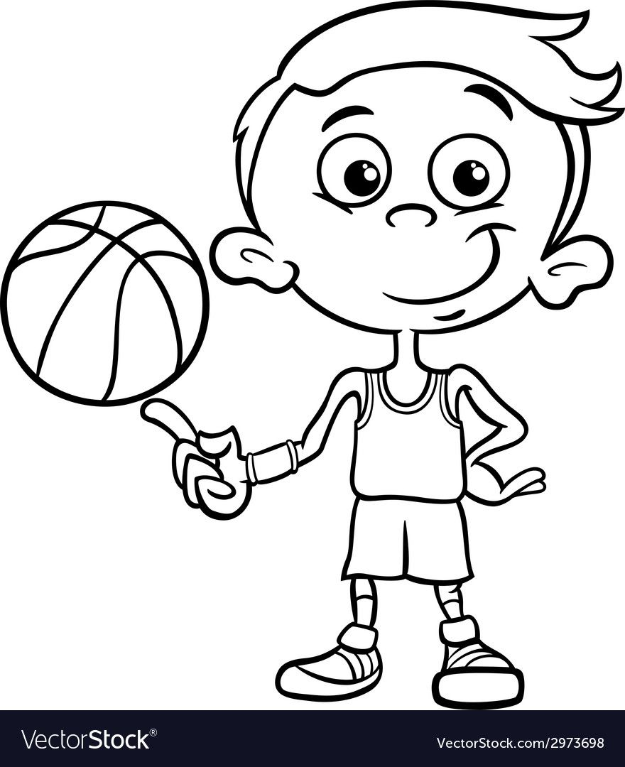Boy Basketball Player Coloring Page Vector Image On Vectorstock Black And White Cartoon Cartoon Illustration Cartoon Drawings