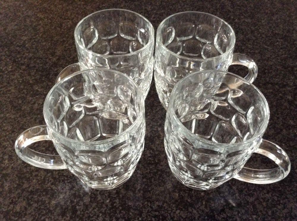 Vintage ARCOROC Thumbprint Large Glass Mug Beer Mugs Set of