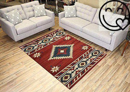 Nevita Collection Southwestern Native American Design Area Rug Rugs Geometric Orange Terra Blue Beige Red 5 3 X 7 1