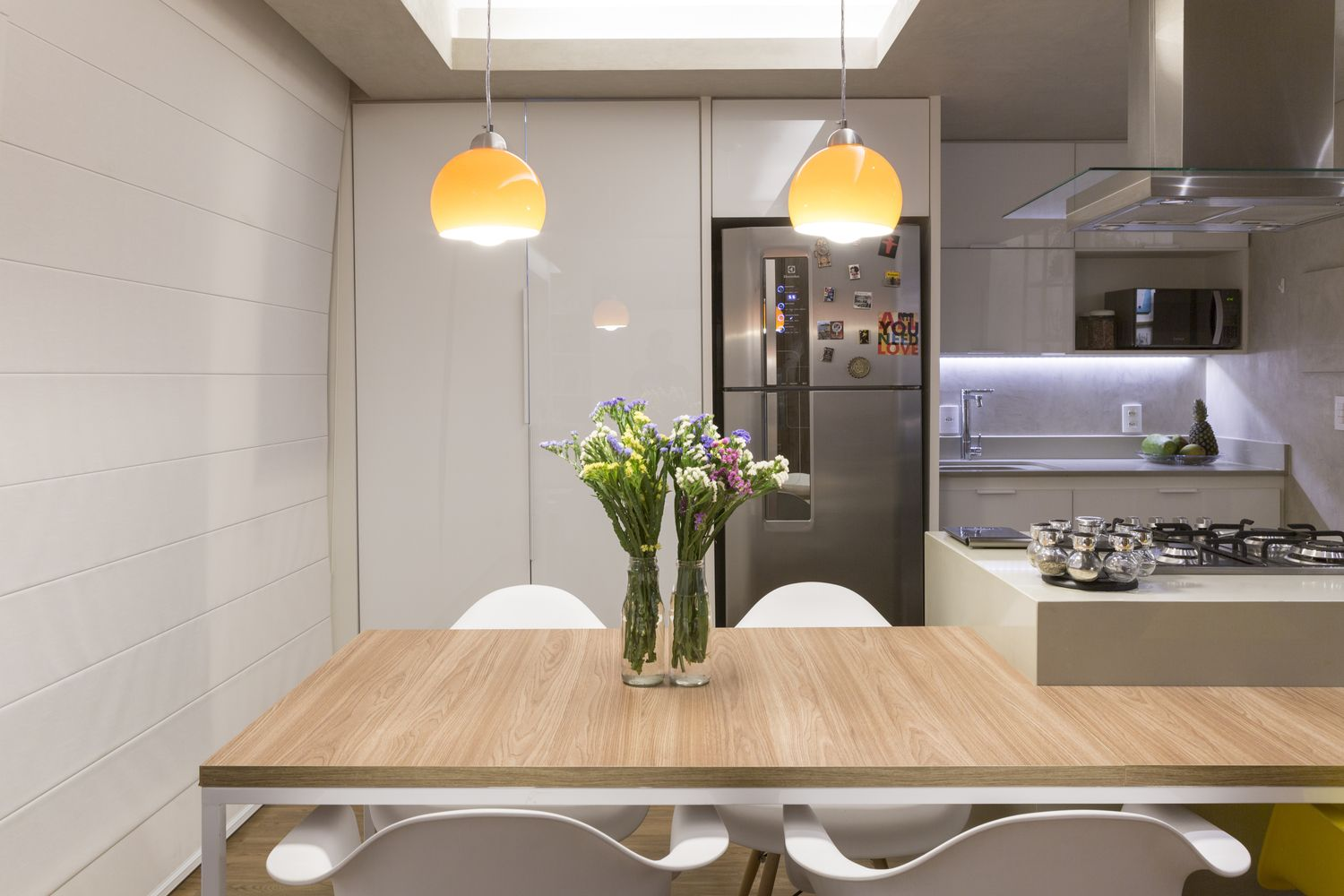 Dining Table Design Is Integrated With The Kitchen Island To Save Space    Decoist Part 64