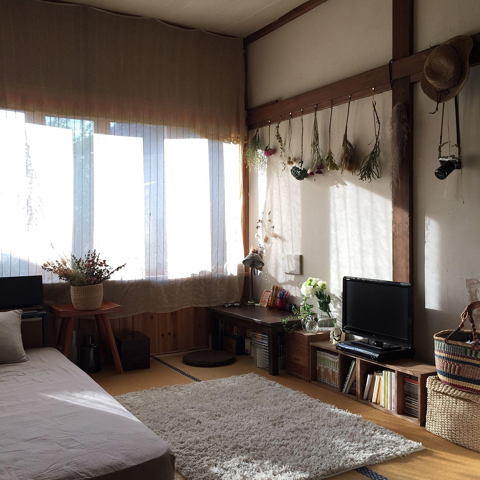珪藻土壁/和室/畳/無印良品/ドライフラワー/花のある