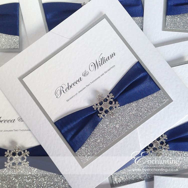 Navy Wedding Invitations The Cinderella Collection Pocketfold Invitation Featuring Silver Glitter Paper Luxury Blue Ribbon And Snowflake