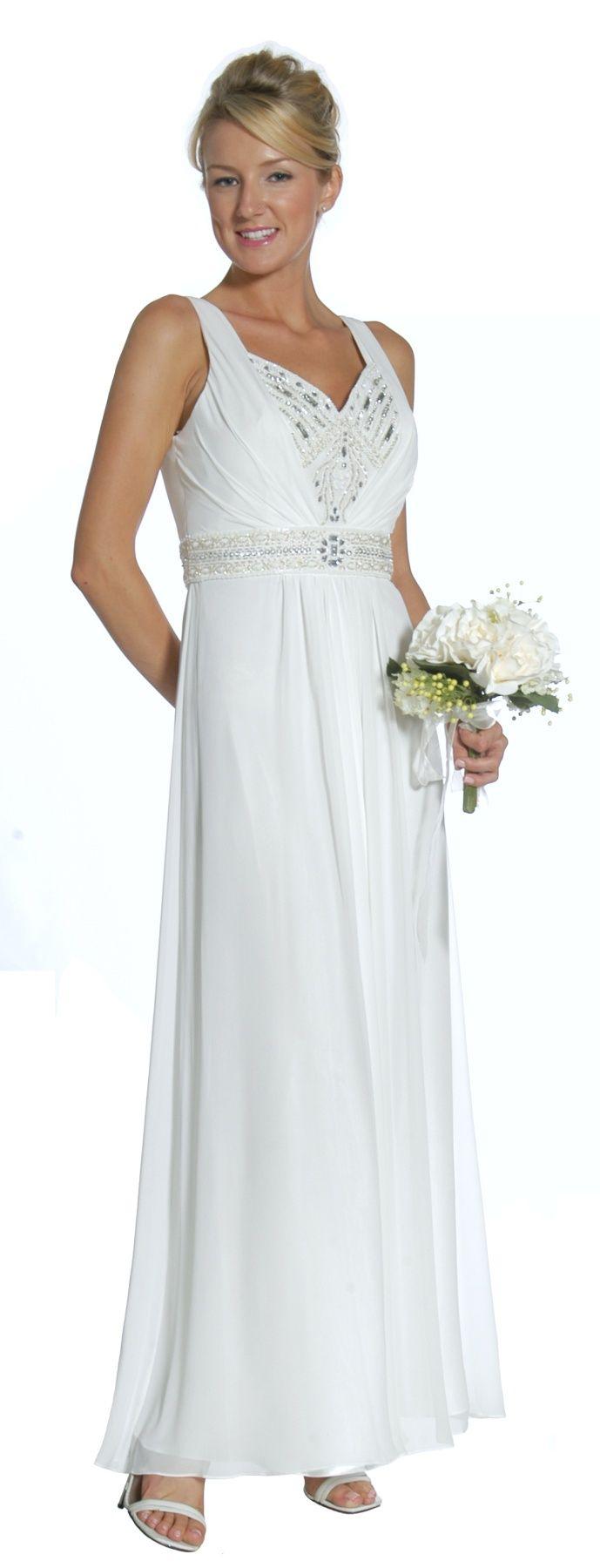 Long flowy off white evening dress wide straps empire rhinestone