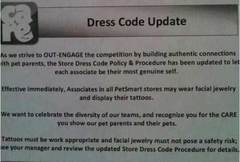 Petsmart S New Policy Way To Go Pet Smart Store Petsmart Dress Code Policy
