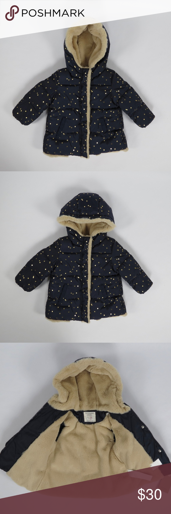 df0654f8751c Zara Baby Girl Gold Dot Navy Puffer Coat 9-12m NWT